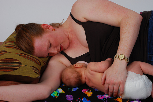 laying down to breastfeed