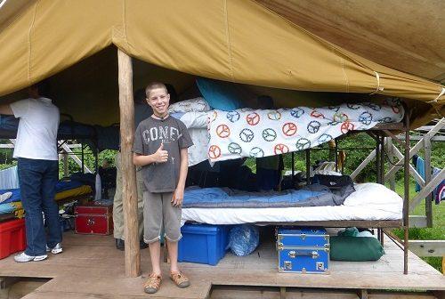 Boy camping