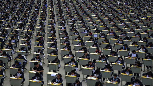 chinese students taking exam