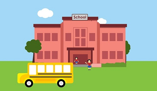 Cartoon of a school with a school bus and kids