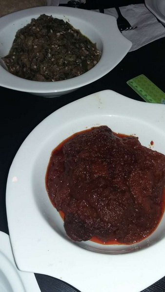 Beef Stew (front) and Egusi (back)