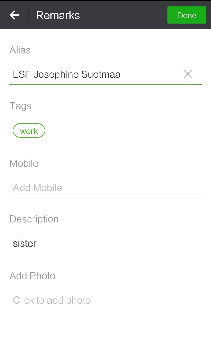 WeChat Contact Label Tag