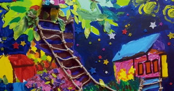 "James Shiyu Bao, 5 - China: ""My painting is of a treehouse at night."""