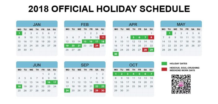 Calendar Holidays.China S Official 2018 Holiday Calendar Announced Earlier Than Ever